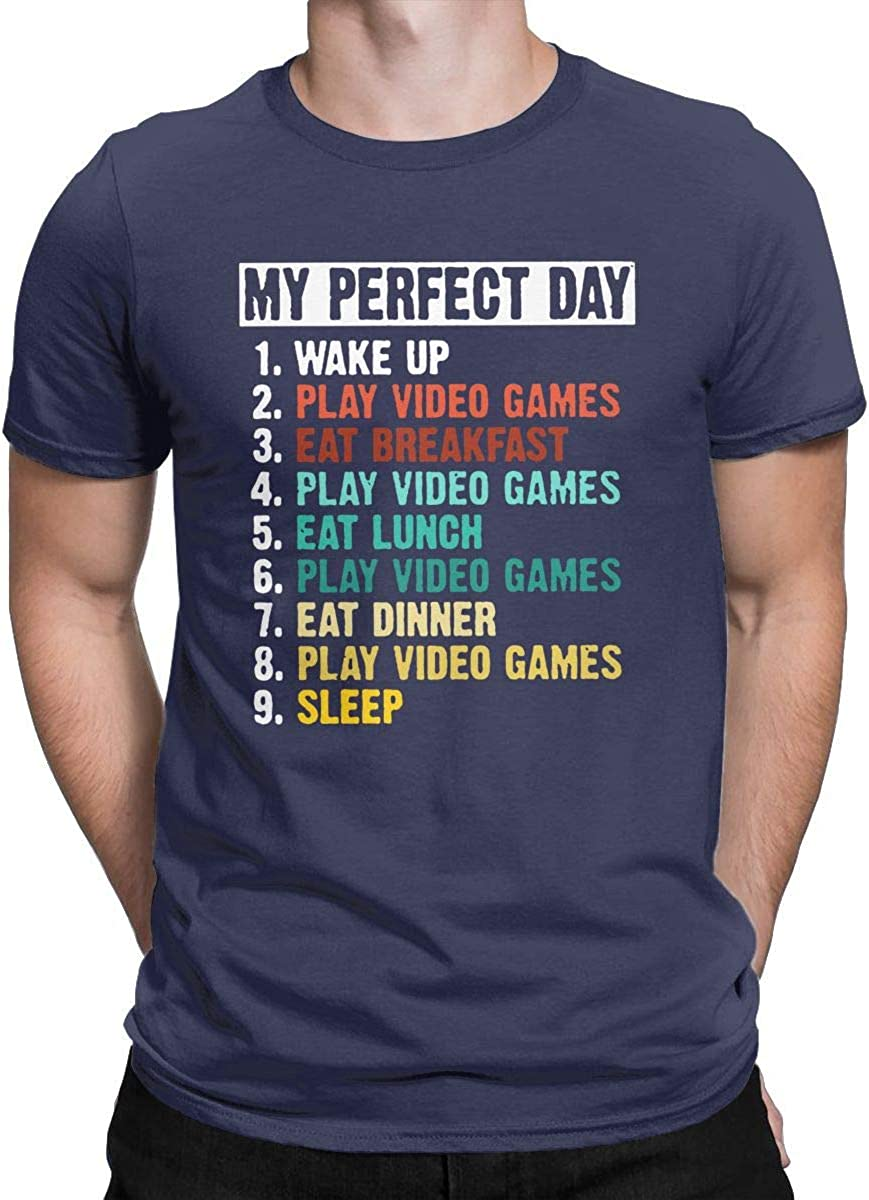 My Perfect Day Funny T Shirt Video Games Gamer Gift Tees Tops for Men