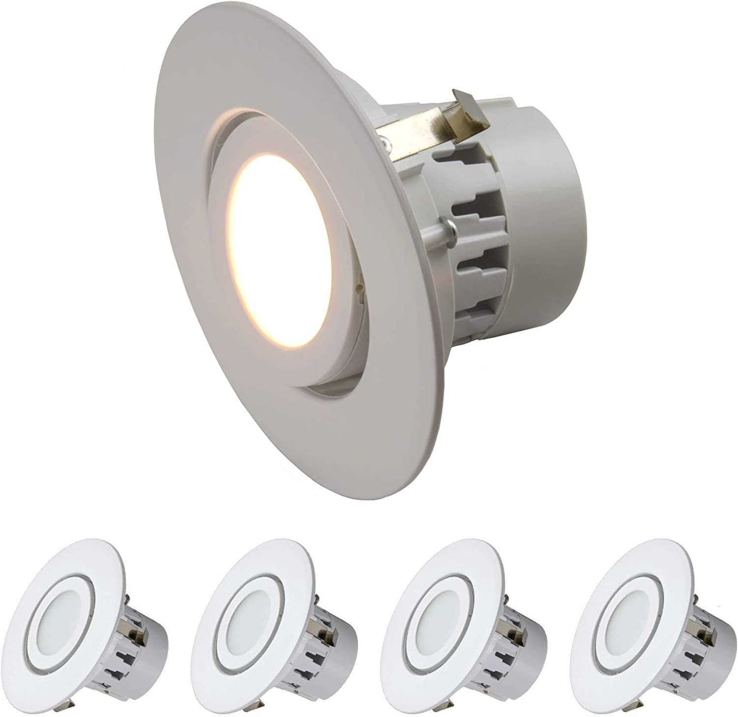 75w Equivalent Wet Loaction Rated; 25,000 Life Hours; Dimmable; Soft White Glow 3000K; 10 Year Warranty 4 Inch LED Gimbal Adjustable Rotating Downlight 6 Pack Renewed 10W=