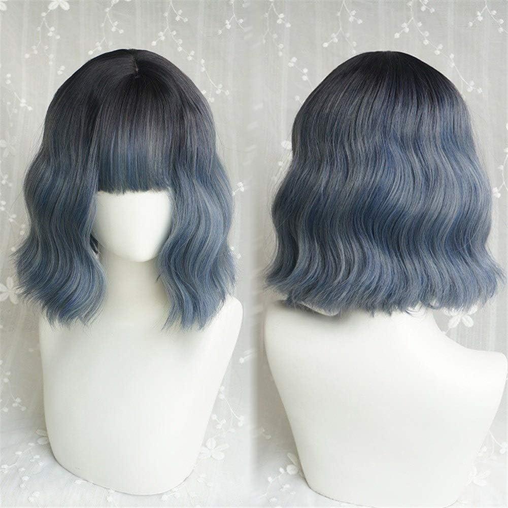 Peluca azul femenino gris corto y rizado Bangs Aire envejecimiento ...