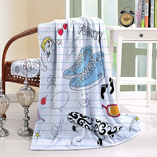 HAIXIA Throw Blanket Doodle Notebook with a Variety Drawings Funky Skateboard Shooting Star Black Light Blue Ginger