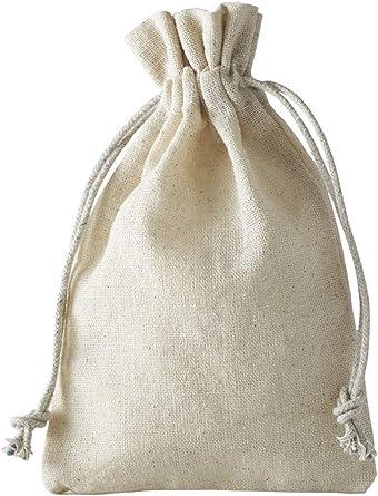 10 bolsas de lino, bolsitas de lino con cordón de algodón para ...