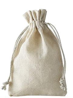 12 sacchetti di lino, sacchetto di lino con cordoncino in cotone da tirare, confezione regalo in lino cotone (10 x 8 cm)