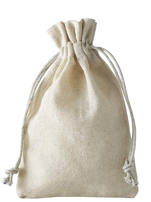 12 bolsas de lino, bolsitas de lino con cordón de algodón para cerrar, para guardar pequeños regalos (15x10cm)