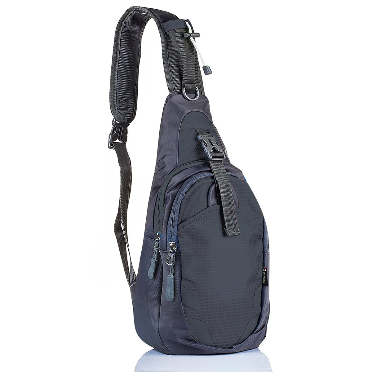 Sling Bag Chest Shoulder Unbalance Gym Fanny Backpack Sack Satchel Outdoor Bike LC Prime CH058BK-L