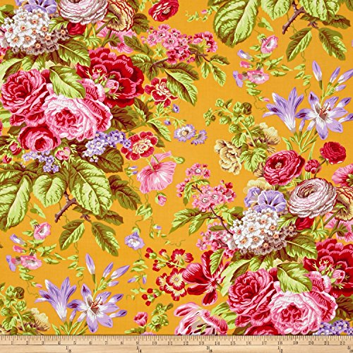 FreeSpirit Fabrics 0410806 Kaffe Fassett Floral Delight Yellow Fabric by The Yard ()