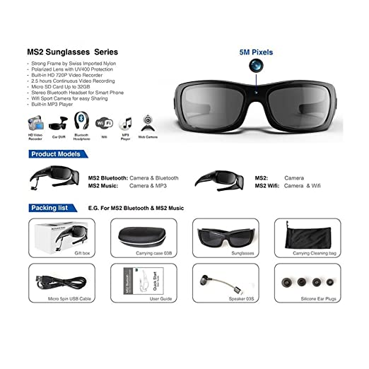 2c88358dc689 Amazon.com   KOLSOL Bluetooth Sunglasses with 720P Camera Video Recorder  Camera Glasses Headset for IOS Android Smartphone Polarized Sunglasses UV400
