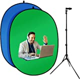 3.3'X5'Portable Green Screen Backdrop with 20''-71'' Adjustable Stand Blue and Green Pop Up Collapsible Green Screen Kit