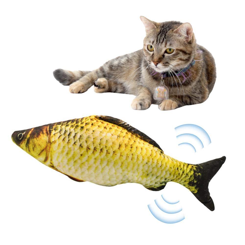 yummyfood Juguetes del Catnip Gato Interactivo Juguetes Pescados con Hierba Gatera Interactive Pets Pillow Chew Toys para Gatos Suministros para Mascotas Bater/ía