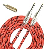 SUNYIN Music Instrument Cables,Electric & Bass Guitar Cord&FREE Stereo Audio Adapter, 20 Feet Straight 1/4 Red