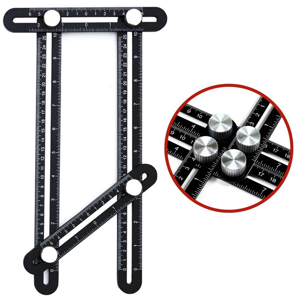 Multi Angle Measuring Ruler, Runfish Premium Aluminum Alloy 836 Angleizer Template Tool/Layout Tool Measurement for Handymen, Builders, Craftsmen, DIY-ers, Black