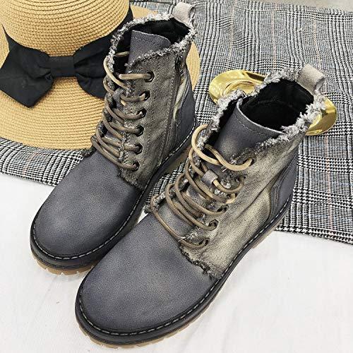 Lianaii Damen Stiefel Spitze Stiefeletten Herbst Und Winter Winter Winter Stiefel Stiefel Flache Matt Retro Martin Stiefel 5e79e3