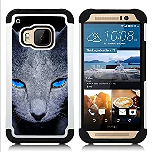 - grey British shorthair cat pet blue eyes/ H??brido 3in1 Deluxe Impreso duro Soft Alto Impacto caja de la armadura Defender - SHIMIN CAO - For HTC ONE M9