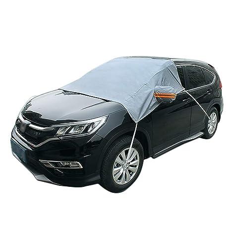 PAWACA Funda para parabrisas de coche con cubiertas de espejo y ganchos fijos, cuatro ruedas