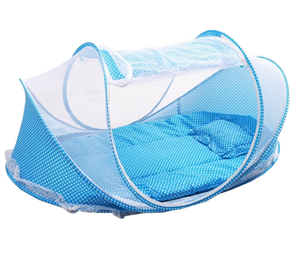 LAAT Portable Krippen Moskitonetz Baby Reisebett Insektenschutz Portable Baby Faltbares Infant Beach Zelt mit kleinen Matratze Blau
