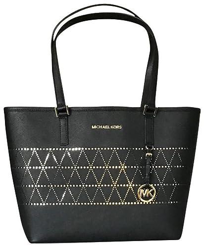 bfcce5b2637e MICHAEL Michael Kors Women's Jet Set Travel Carry All Medium TOTE Leather  Handbag (Black)