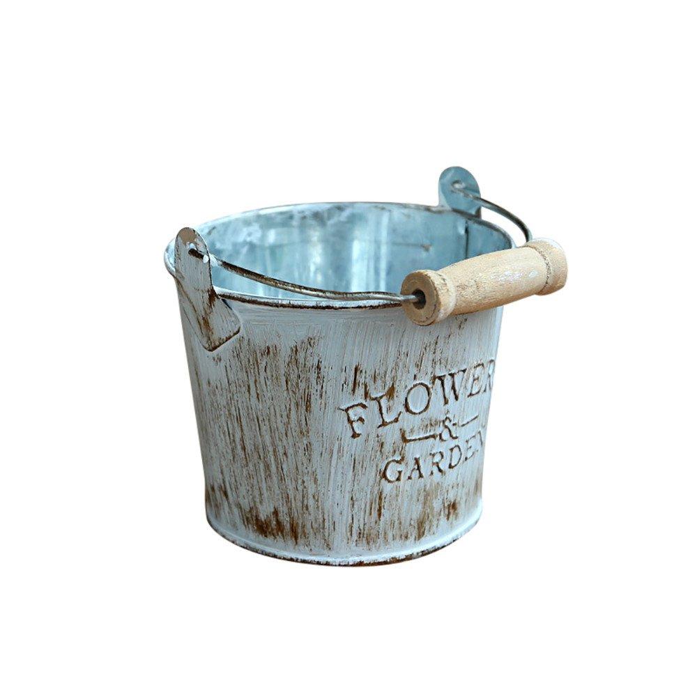 FIN86 Fashion Home Garden Flowers Pot,Vintage Metal Iron Keg Flower Pot Hanging Balcony Garden Plant Planter Decor Pot (A)