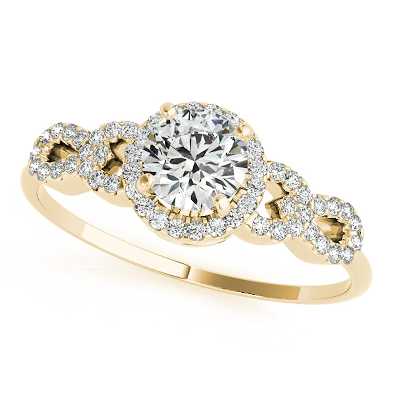 0.50 Ct Halo Diamond Engagement Ring 14K Solid Yellow Gold