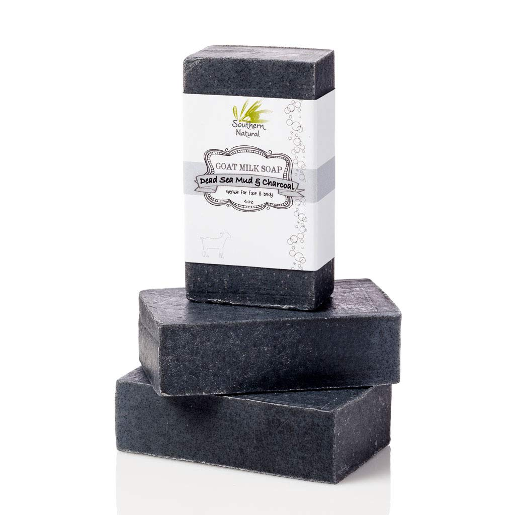 Activated Charcoal Soap Bars With Dead Sea Mud - For Acne, Psoriasis & Eczema. All Natural Face Soap & Body Soap. Made With Goat Milk & Peppermint Essential Oil. (3 BARS 4 oz EACH) by Southern Natural
