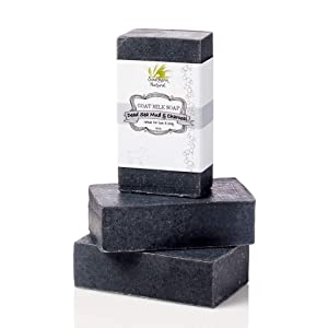 Activated Charcoal Soap Bars With Dead Sea Mud - For Acne, Psoriasis & Eczema. All Natural Face Soap & Body Soap. Made With Goat Milk & Peppermint Essential Oil. (3 BARS 4 oz EACH)