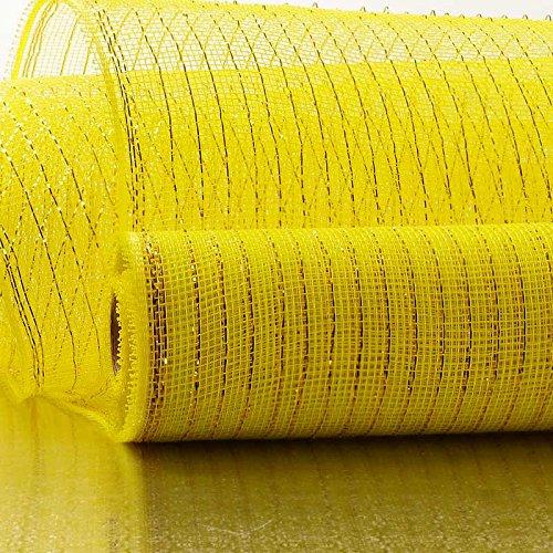 21 X 10 Yards Yellow/Gold Deco Mesh W/Metallic Stripe Paper Mart