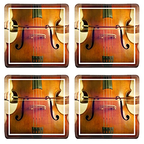 MSD Square Coasters Image ID 27207822 Close up of double bass wooden musical instrument that is played with a bow