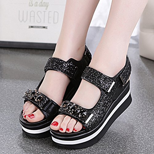 AGECC Shoes With Thick Soles Of Sandals Sandals Muffin black