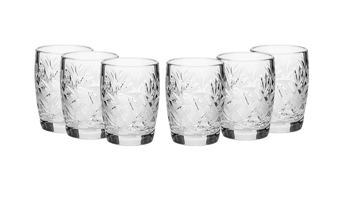 SET of 6 Russian CUT Crystal Shot Glasses 50ml Hand Made