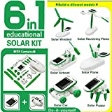 Marketworldcup - Creative DIY 6 IN 1 Educational Learning Power Solar Robot Kit Children Kids Toy For Kid boy gril Gift