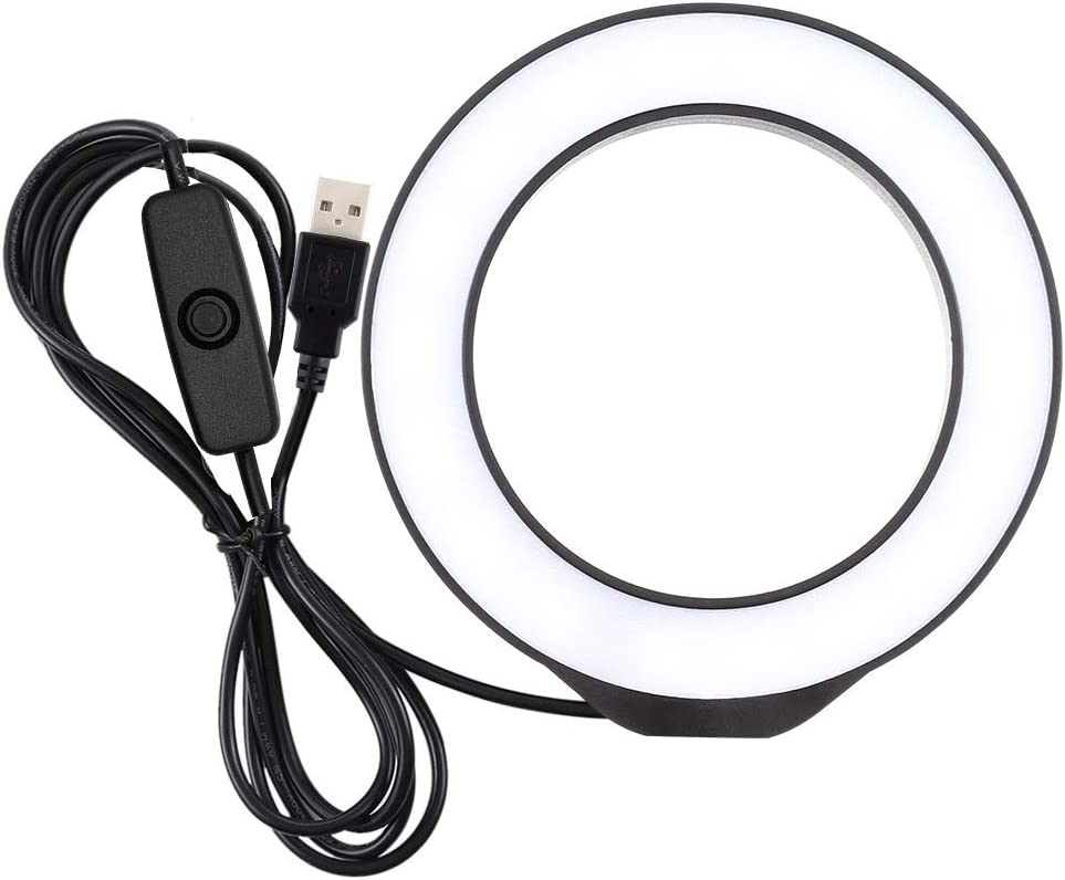 Ring Vlogging Video Light 4.7 Inch 12cm USB White LED Ring Recording Photography Video Light Black Color : Black Suitable for Outdoor Lightweight and Portable