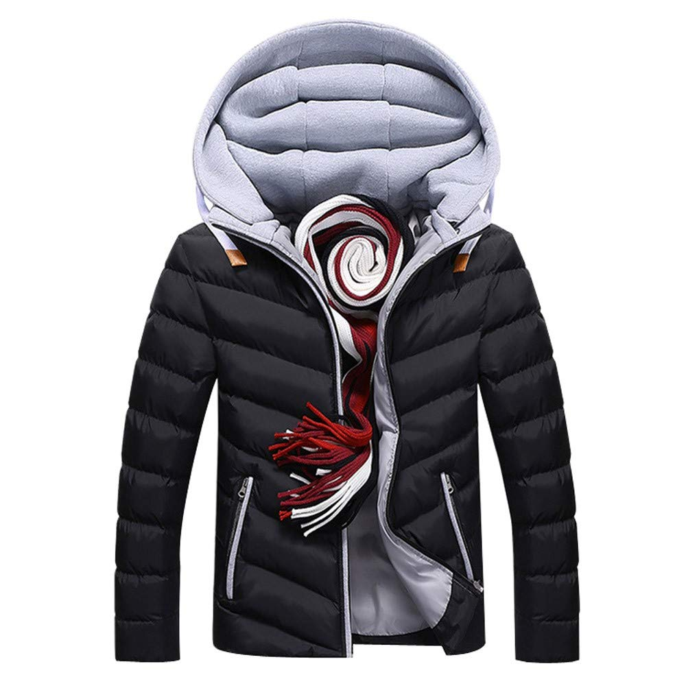 WUYIMC Mens Winter Removable Hooded Warm Coat Cotton Padded Outwear Parka Jackets Top Blouse