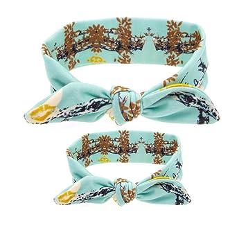 2pcs Girl Mommy And Baby Rabbit Ear Headwear Knot Hairband Headband Turban