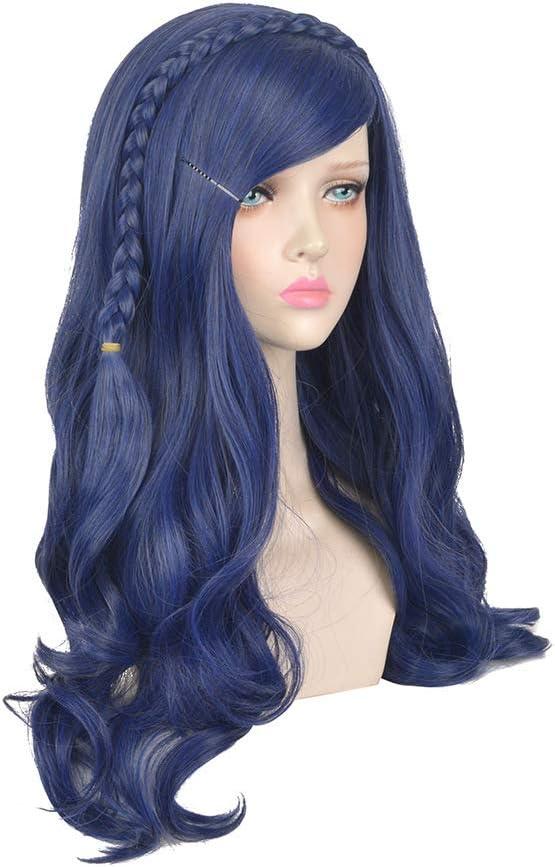 Femenino Wig Master Azul Largo Curling Trenzas Química Fibra De ...
