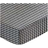 SheetWorld Fitted Sheet (Fits BabyBjorn Travel Crib Light) - Black Gingham Check - Made In USA