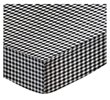 SheetWorld Fitted Pack N Play (Graco) Sheet - Black Gingham Check - Made In USA