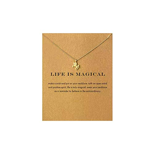 """My Lady """"Life is Magical Unicorn Necklace for Girls Rose Gold Plated Birthday Gifts Pendant Choker Necklace for Women Anniversary Birthday Gifts for Women Girls Teens"""
