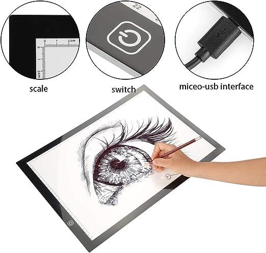 A3 Mesas de Luz Dibujo Caja de Luz Portátil Tableros de Dibujo LED Dibujo de Tableta Luz Ajustable para Dibujo de Copia y Animación con USB, Diseño Ultra Delgado: Amazon.es: Hogar