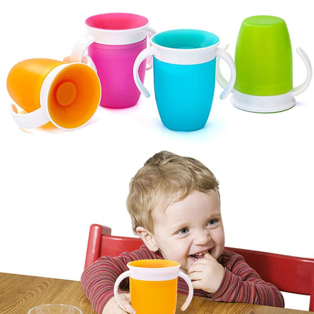 Orange Tasse Avec Double Poign/ée Form/ée 360 Degr/és Tourn/é Bouteille Deau Potable Infantile Infantile Couvercle /à Bascule Nourrissant /Étanche
