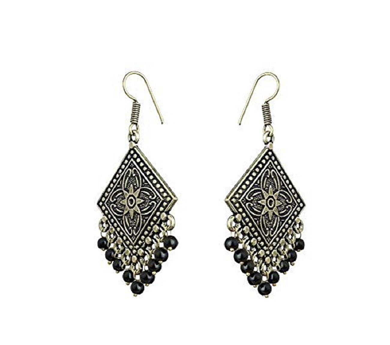 Subharpit Black Beads Traditional Indian Silver Tone Dangle Earring Jewelry For Women and Girls