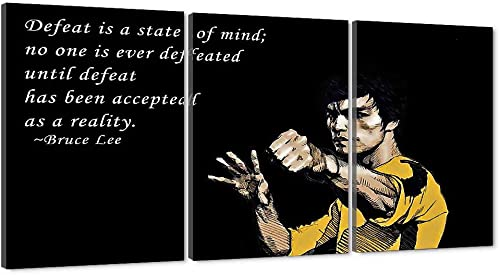 Motivational Living Room Wall Art Giclee Canvas Bruce Lee Paintings Prints Inspirational Office Quotes Defeat Is A State of Mind Saying HD Print Black Background Gallery Wrapped Easy to Hang-60″Wx28″H
