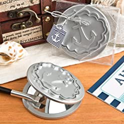 nautical anchor silver compact mirror wedding favors