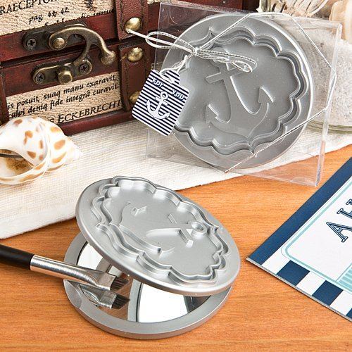 nautical anchor silver compact mirror wedding favors