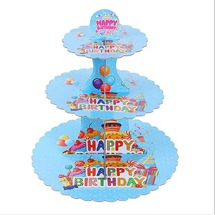 ZLuckx Blue 3 Tier Cardboard Paper Cupcake Cake Stand Plates Display Holder Tray Muffin Dessert Wedding