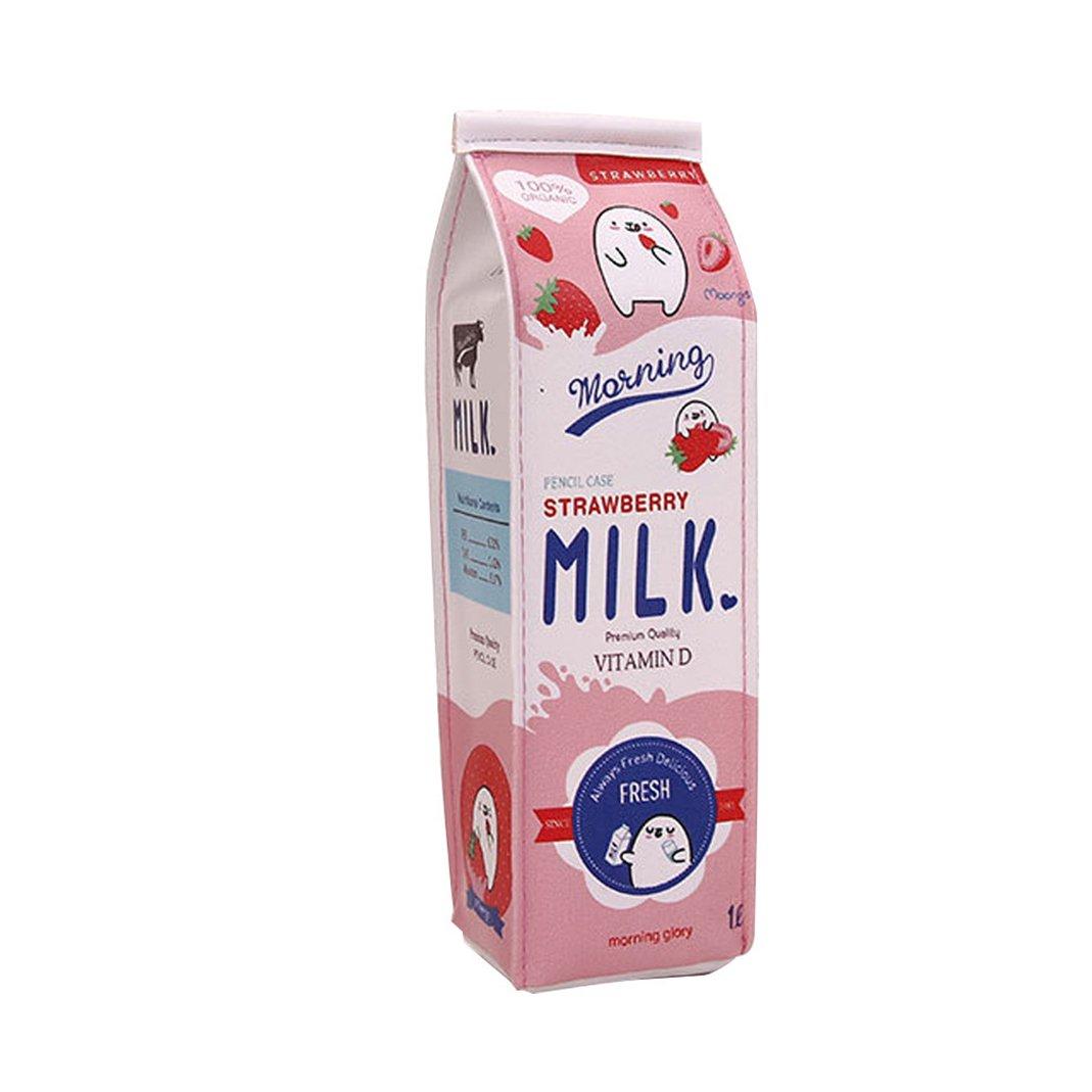 AAA226- Astuccio dal design creativo a forma di cartone del latte, astuccio portapenne e matite, beauty case per cosmetici, pratico, ideale per studenti 7.87 x 1.97 x 2.36 Blue