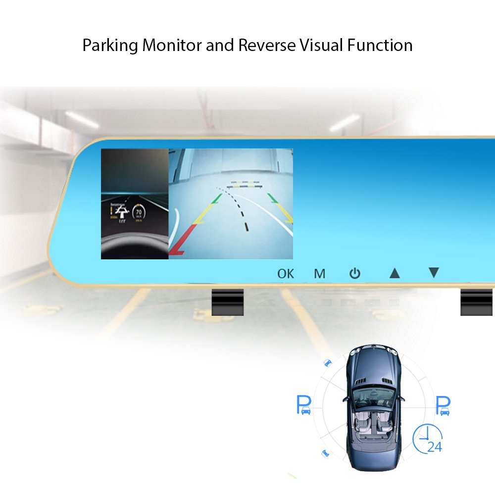 Dash Cam Dual Lens Front And Rear View Mirror Bmw Wiring Diagram Car Backup Camera 1080p Fhd Back Video Recorder Dvr With G Sensor