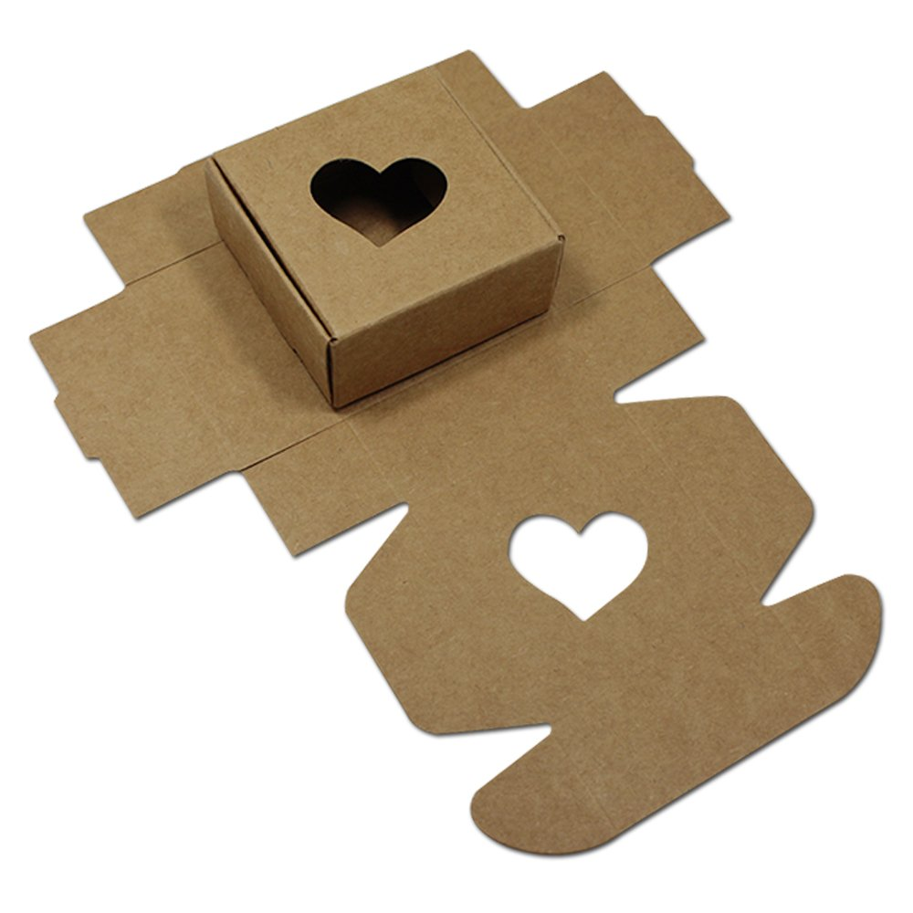 20Pcs Brown Kraft Paper Gift Packaging Boxes Reusable Wedding Party Favor Candy Gift DIY Box Handmade Soap Jewelry Making Pack Box with Heart Shape Window 7.5x7.5x3cm (3x3x1.2) FERENLI