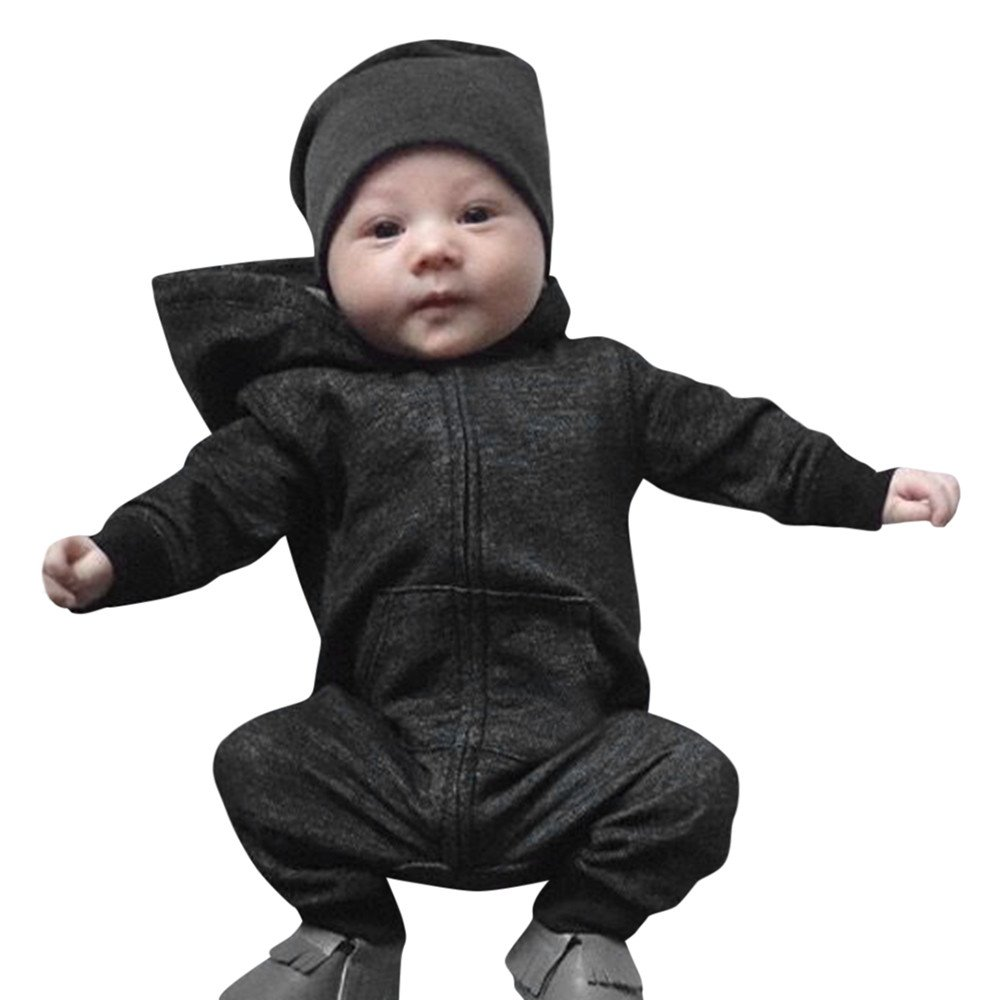Scaling/♥Baby Romper Jumpsuit Toddler Baby Boys Girls Solid Zip Long Sleeve Hoodie Romper Jumpsuit Clothes