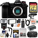 Panasonic Lumix DC-G9 4K Wi-Fi Digital Camera Body with 64GB Card + Battery + Case + Flash + LED Video Light + Mic + Stabilizer Kit