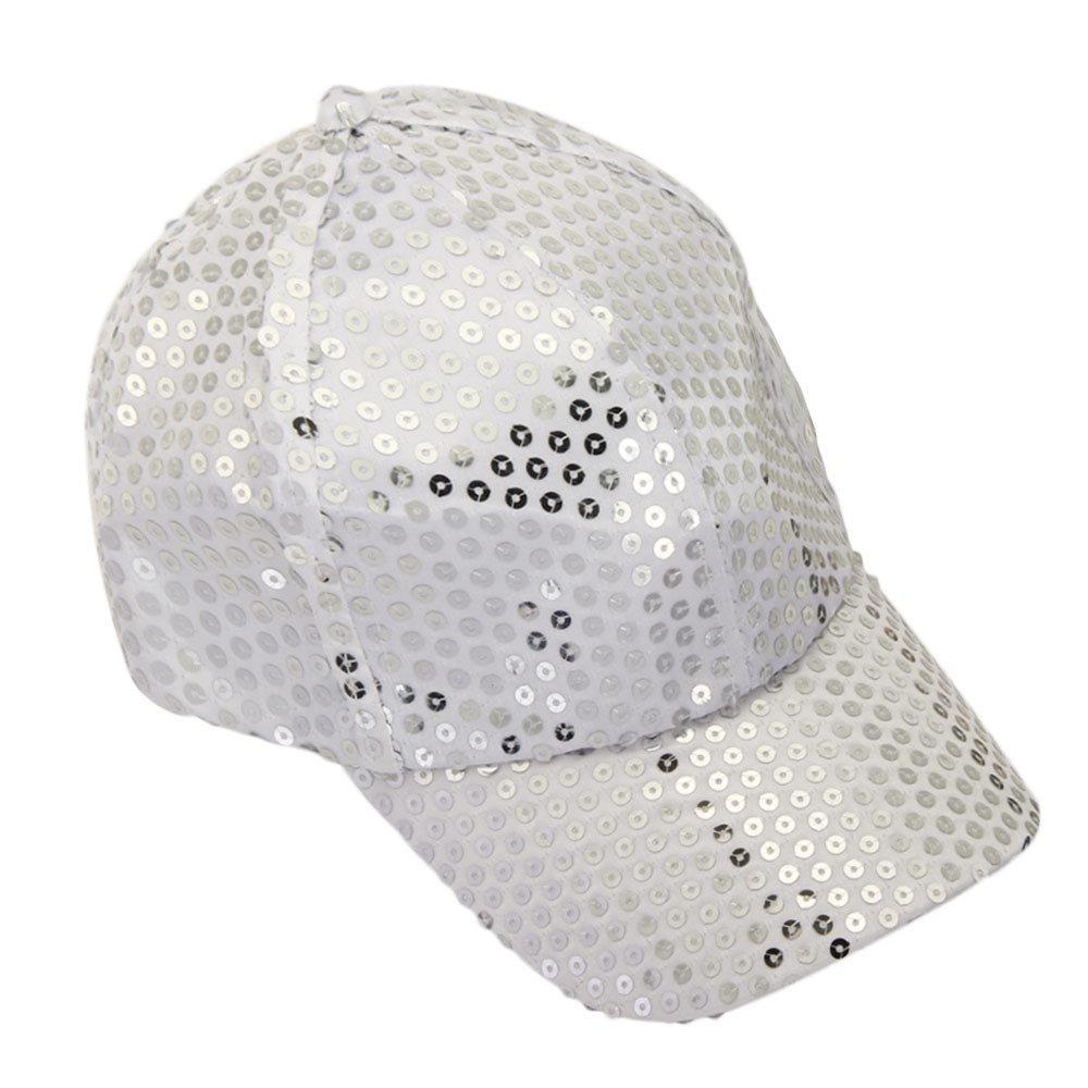 Kimloog Women Men Adjustable Sequins Baseball Cap Low Profile Solid Sunhat(White)