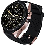 LePan Smart Watch Camera Bluetooth Speaker Heart Rate Monitor MTK6580 Big Touchscreen GPS Pedometer Customized Activity Tracker Water Resistant Metal Dial Smart Wristband Android IOS Smartphones Gold