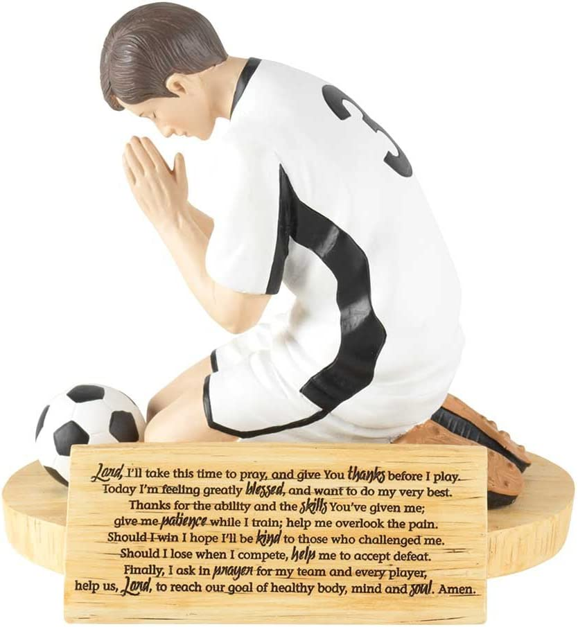 Dicksons Hear Our Prayer Kneeling Soccer Player 5 x 5.5 Resin Stone Tabletop Figurine